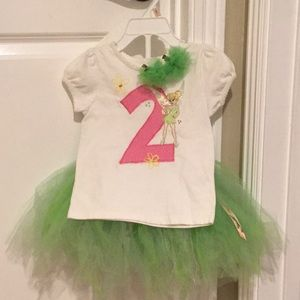 Custom made Tinkerbell outfit with hair clips